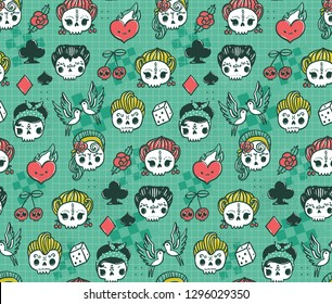 Cute kawaii rockabilly sugar skulls. 1950s vintage seamless pattern. Halloween texture with cartoon characters, Dia de los muertos illustration for your fabric, textile, wrapping, wallpaper.
