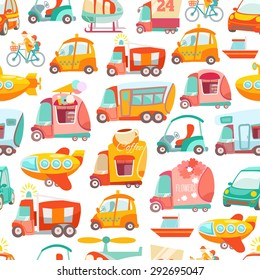 Cute kawaii seamless pattern with various transport: cars, bus, airplane, truck. Vector illustration
