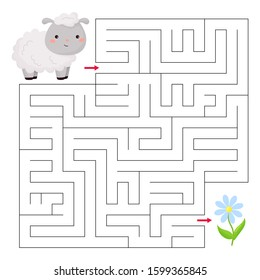Cute kawaii sheep and flower. Maze game for children. Educational worksheet. Farm animals. Vector illustration.