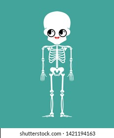 Cute kawaii skeleton isolated. funny skull cartoon style. kids character. Childrens style.