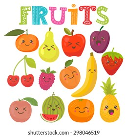 Cute kawaii smiling fruits. Healthy style collection. Vector illustration