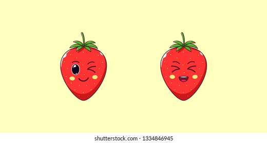 Cute Kawaii Strawberry, Cartoon Ripe Fruit. Vector illustration of Cartoon Red Strawberry with Winking and Laughing Face, Funny Emoji. Juicy Berry Sticker. Print for T-shirt. Friendly Character