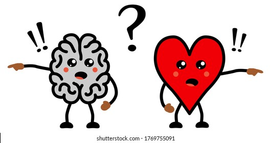 Cute Kawaii style disagreeing brain and heart icon, emotions and rational thinking conflict concept