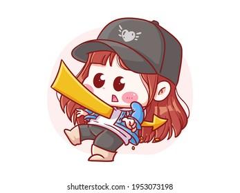 Cute and kawaii Stylish Girl Stabbed with Arrow manga chibi Illustration
