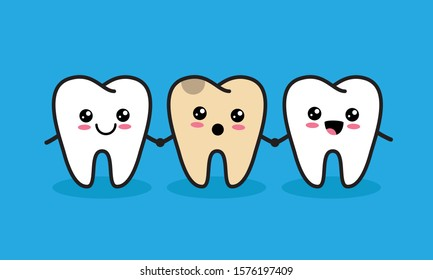 Cute kawaii teeth characters with one unhealthy tooth. Caries or tooth decay concept