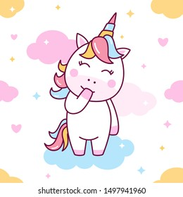 Cute kawaii unicorn pony cartoon, vector seamless pattern illustration perfect for kids fabric and greeting cards.