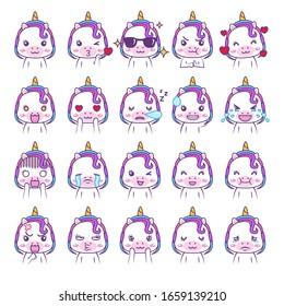 Cute kawaii unicorn social media emoticon