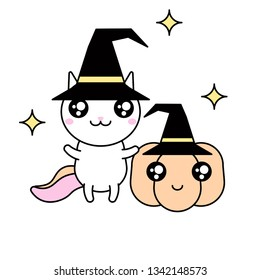 Cute kawaii vector illustration of happy cartoon rainbow cat unicorn with pumpking wearing halloween witch hat isolated on white.