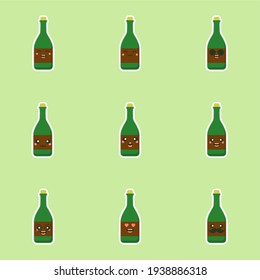 cute and kawaii wine bottles over green background, colorful design. flat design vector illustration. Cartoon kawaii Champagne with Smile and Smiling eyes. Cute Champagne bottle