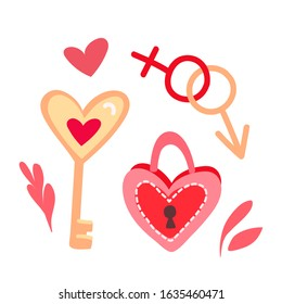Cute keys and locks vector illustration. Heart shaped padlock in hand draw style with funny keys on a white background. Sticker, icon, design element with valentines day.