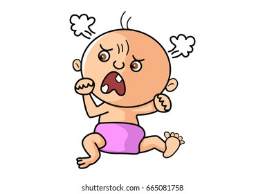 Cute Kid angry. vector Illustration. Isolated on white background.