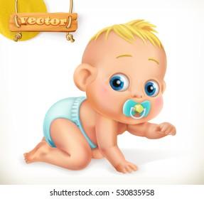 Cute kid. Baby. 3d vector icon.
