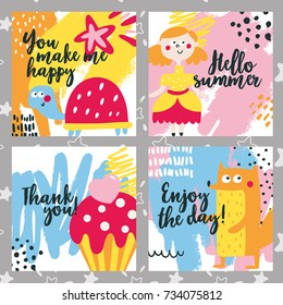Cute kid baby animal set cards with turtle, kid girl, fox, tasty, cake, color, bright, star, princess