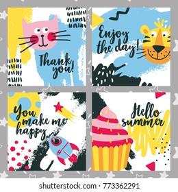 Cute kid baby animal set cards with cat, tiger, cake, rocket, star, space, moon