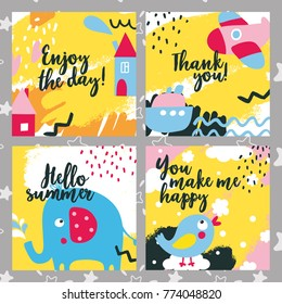 Cute kid baby animal set cards with elephant, bird, ship, boat, happy, baby, kid, plane, house, home, color, fun