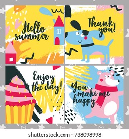 Cute kid baby gift set cards with sun, tasty, cake, color, bright, bear, dog, home, house, enjoy the day, thank you