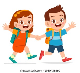 cute kid boy and girl holding hand and go to school together