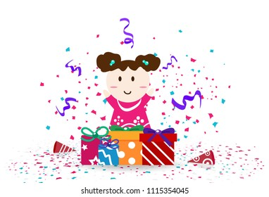 Cute kid with celebration day, confetti festival party abstract background vector illustration