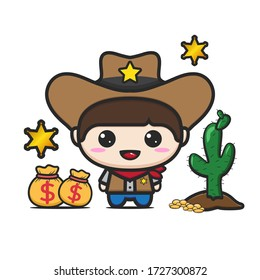 Cute kid in a cowboy costume. Isolated money bags and cactus trees against a white background