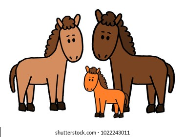 Cute kid easy vector illustration of horse family including mother, father and kid, isolated on white background.