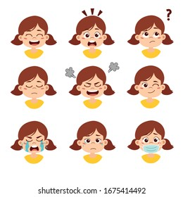 Cute kid facial expresstion set.Vector and illustration.