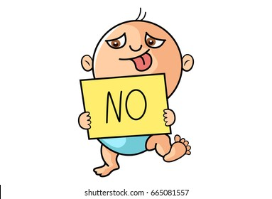 Cute Kid with a note saying No. vector Illustration. Isolated on white background.
