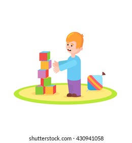 Smiling Preschool Girls Kids Building Tower Stock Vector Royalty