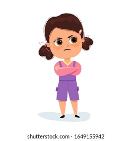 cute kid teen girl show facial expression. Angry little girl. Child in a pink shirt is expressing anger. Excitement and frown. Cartoon characters, vector illustrations, isolated on white background.