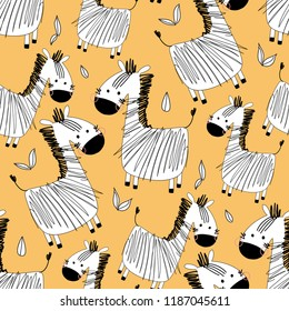 Cute kid vector illustration od seamless pattern of graphic drawing monochrome zebra on yellow. Safari african jungle background with striped zebra for fabric, textile, paper, wallpaper, wrapping.