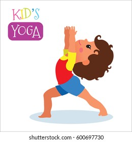 Cute kid in yoga pose on white background. Vector illustration.