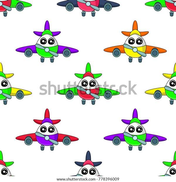 Cute Kids Aircraft Pattern Girls Boys Stock Vector Royalty Free
