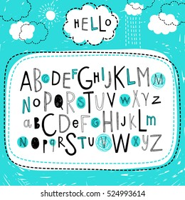 Cute kids alphabet design. Hand drawn doodle abc. Set of varied letters. Vector.