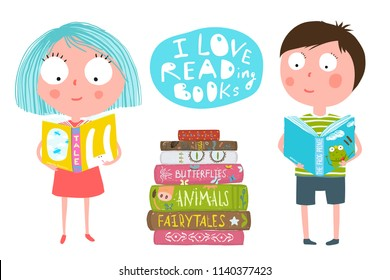 Cute Kids Boy and Girl Reading Books. Colorful fun clip art cartoon of children and a pile of books. Vector cartoon.
