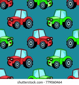 Cute kids car pattern for girls and boys. Colorful car, tractor on the abstract background create a fun cartoon drawing.The car pattern is made in neon colors. Urban backdrop for textile and fabric