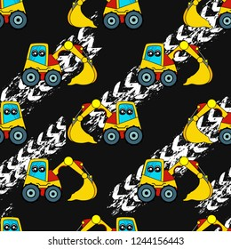 Cute kids car, tractor pattern for girls and boys. Colorful car, auto, tractor on the abstract bright background create a fun cartoon drawing. Urban pattern for textile and fabric, kids. Neon color