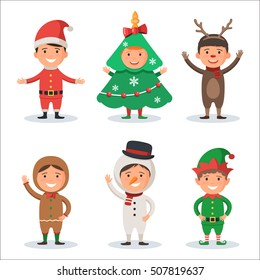 Cute kids in Christmas holiday costumes: Santa Claus, Tree, Snowman, Reindeer, Gingerbread man, Elf. New year's carnival. Vector illustration of a character isolated on white background