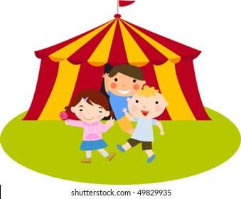 Cute kids at the circus vector