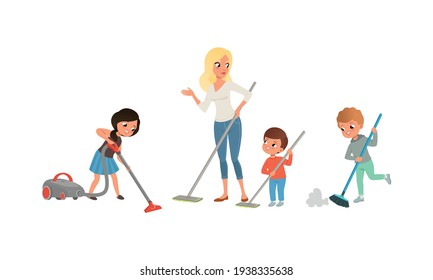Cute Kids Cleaning and Vacuuming Floor Set, Children Helping their Mom with Housework Cartoon Vector Illustration