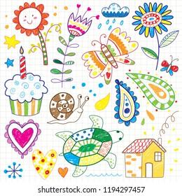 cute kids coloring doodles