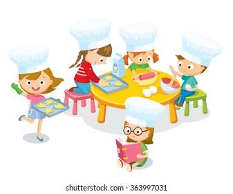 cute kids cooking christmas cookies