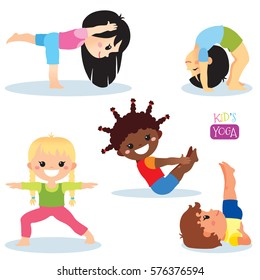 Cute kids in different yoga poses on white background. Vector illustration.