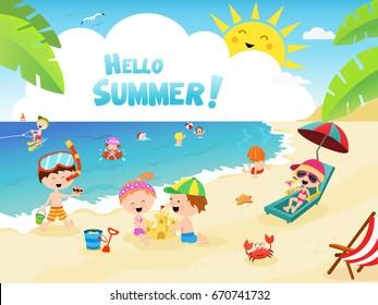 Cute Kids Enjoying The Beach