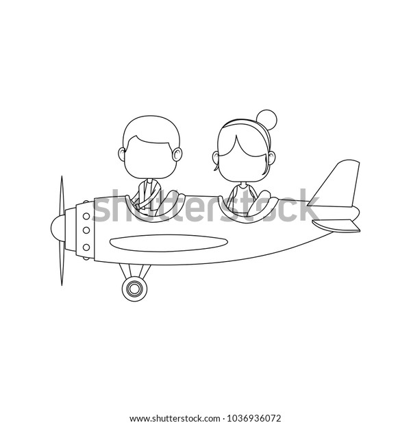 Cute Kids Flying Airplane Cartoon Stock Vector Royalty Free