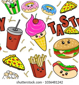 Cute kids food pattern for girls and boys. Colorful fast food on the abstract grunge background create a fun cartoon drawing. The food pattern is made in white colors. Urban pattern for textile.