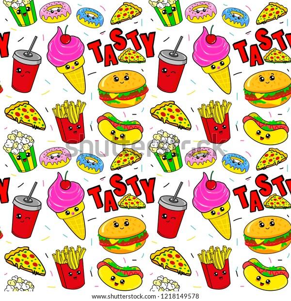 Cute Kids Food Pattern Girls Boys Stock Vector Royalty Free 1218149578