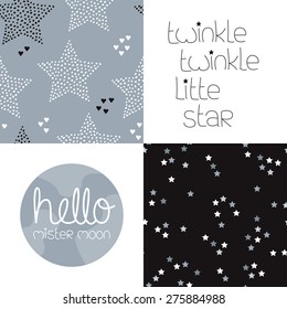 Cute kids gender neutral dreams and night theme with twinkle stars seamless background pattern and lettering wall decor design in vector