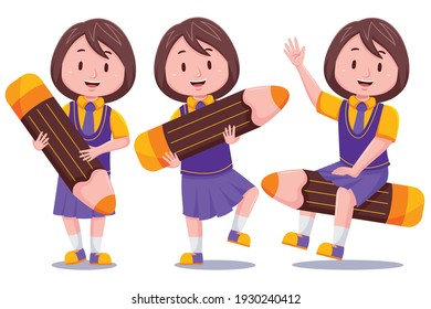 Cute Kids Girl Student with Pencil #01