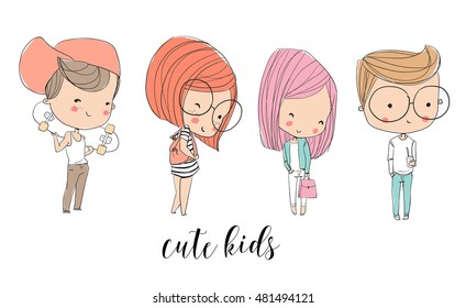 Cute kids. Girls and boys.