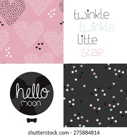 Cute kids girls dreams and night theme with twinkle stars and hearts seamless background pattern and lettering wall decor design in vector