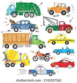 cute kids hand drawn doodle truck car transport boy icon set